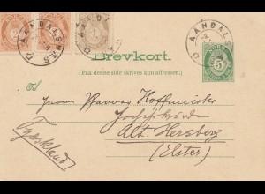 Norwegen: 1908: Ganzsache Aandalsnes nach Herzberg