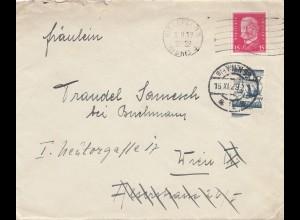 Österreich: 1929: Brief von Bielefeld nach Wien - Nach-Taxe
