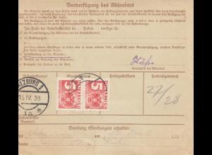 Österreich: 1936: Paketkarte Salzburg nach Krengelbach