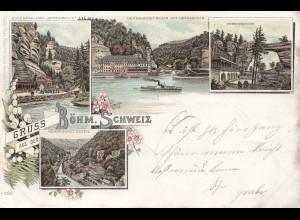Österreich: 1898: Ansichtskarte Böhmische Schweiznach Narsdorf