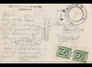 Österreich: 1929: Ansichtskarte Rax -Payerbach
