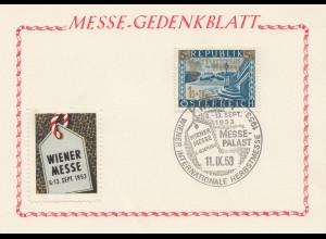 Österreich: 1953: Wiener Messe - Gedenkblatt