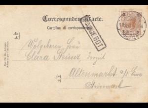 Österreich: 1910: Ansichtskarte Zara nach Altenmarkt - Paquebot