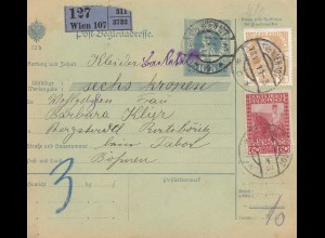 Österreich: 1911: Post Begleitadresse Wien nach Böhmen