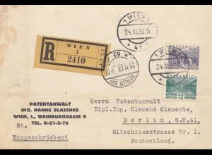 Österreich: 1933: Einschreiben Wien nach Berlin