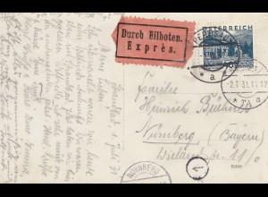 Österreich: 1931: Ansichtskarte Pertisau als Eilboten nach Nürnberg
