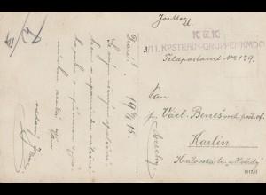 Österreich: 1915 KuK Kpstrain-Gruppenkommando nach Karlin