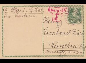 Österreich: 1915: Ganzsache nach München - Überprüft
