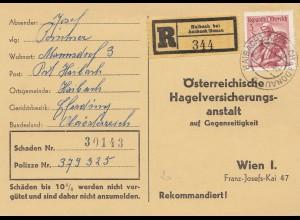 Österreich: 1958: Haibach nach Wien- Hagelversicherung