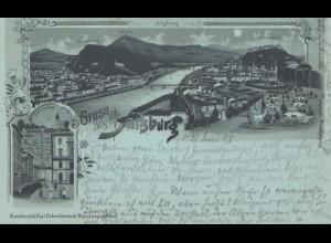 Österreich: 1898 Ansichtskarte Salzburg nach Rudolstadt