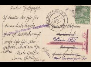 Österreich: 1913: AK Parenzo - Marienbad nach Wien. Aus dem Briefkasten