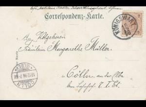 Österreich: 1898: Königswart nach Cölln a.d. Elbe (Kolin) - Ansichtskarte