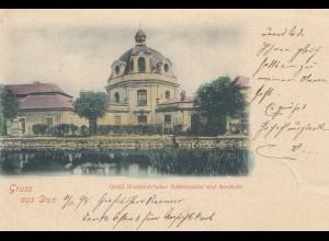 Österreich: 1898: Ansichtskarte Dux nach Oberwiesenthal