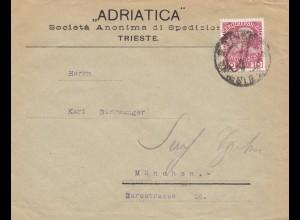 Österreich: 1908: Trieste nach München - Perfin