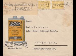Österreich: 1924: Flugpost, Standard Varnish Works nach Leipzig