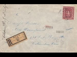 Österreich: 1922: Einschreiben Wien nach USA: Vignette: Kinderkrippen