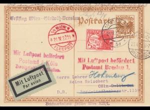 Österreich: 1927: Ganzsache Flugpost Wien nach Köln - Postamt Breslau