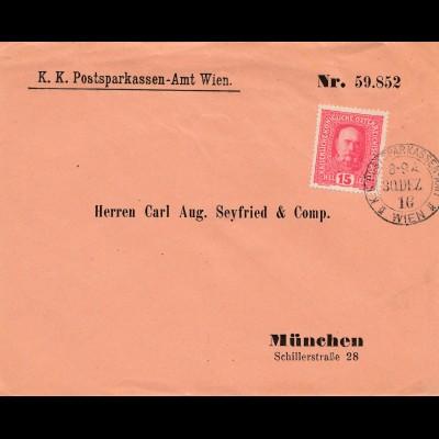 Österreich: 1916: Postsparkasse Wien nach München