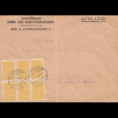 Österreich: 1925: Wein nach Bologna - Gummi und Asbestwarenfabrik