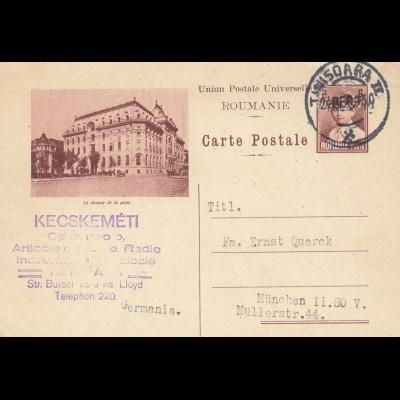 Rumänien 1930: Ganzsache Temesvar nach Müchen - Perfin