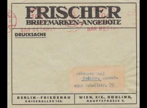 Österreich: 1924: Wien - Freistempel -bar bezahlt- nach Potsdam