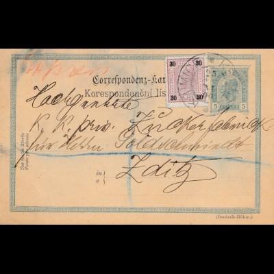 Österreich: 1919: Ganzsache nach Zaditz