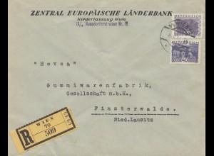 Österreich: 1933: Europäische Länderbank Wien nach Finsterwalde - Gummiwaren