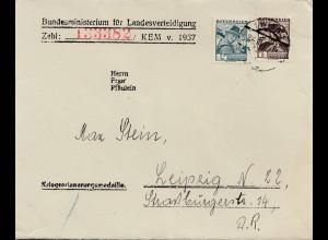 Österreich: 1937:Landesverteidigung Wien nach Leipzig: Kriegserinnerungsmedaille