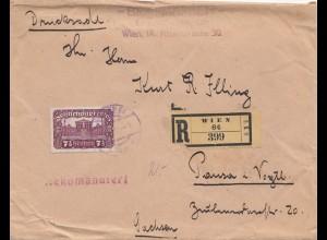 Österreich: 1921: Drucksache-Einschreiben Wien nach Pausa