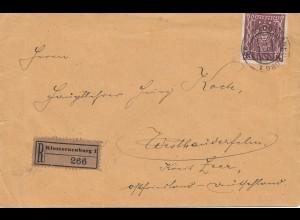 Österreich: 1923: Einschreiben Klosterneuburg nach Westrhauderfehn
