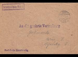 Österreich: 1924: Zeitungsaufgabe Wien, portofreie Dienstsache