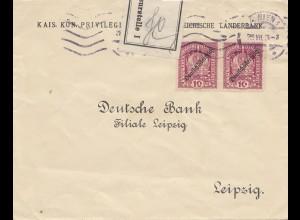 Österreich: 1929: Wien nach Leipzig - Zensurstelle 1