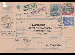 Österreich: 1915: Paketkarte Wien nach Konstatantionopel via Rumänien
