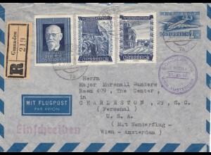 Österreich: 1949: Einschreiben Gmunden -Sonderflug Wien Amsterdam nach USA