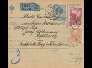 Österreich: 1914: Paketkarte Wien nach Ratiboritz