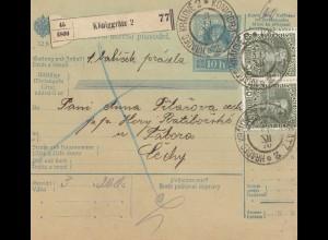 Österreich: 1910: Paketkarte Königgrätz nach Bergstadtl