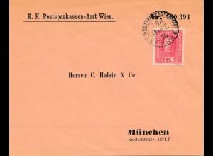 Österreich: 1916 Postsparkassen Amt Wien nach München