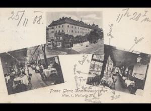 Österreich: 1908 Ansichtskarte Wien Dominikanerkeller