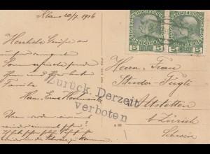 Österreich: 1916: Ansichtskarte Steyrtal nach Zürich: Zurück derzeit verboten