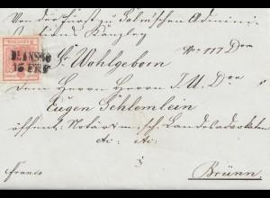 Österreich: 1851: Blansko nach Brünn; kleiner Plattenfehler