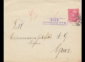 Österreich: 1916: KuK Zensur Knin nach Graz: Werbung Eternit