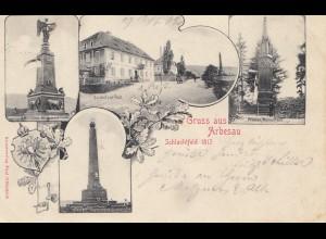 Österreich: 1902: Ansichtskarte Arbesau nach Böhmen: Schlachtfeld