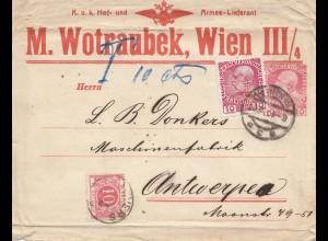 Österreich: Wien, Schweine Groß-Schlächterei nach Antwerpen, Nachgebühr, Perfin