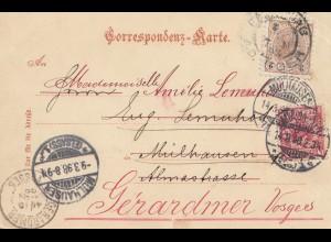 Österreich: 1898: AK Karlsbad nach Frankreich