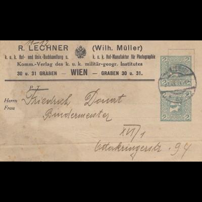 Österreich: 1911: Buchhandlung Adressteil als Ganzsache Wien