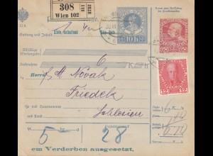 Österreich: 1916: Paketkarte Wien nach Schlesien