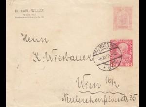 Österreich: 1909: Wien - alte Ganzsache mit neuer Wertziffer !!!!