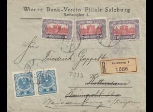 Österreich: 1922: Eiinschreiben Salzburg nach Weissenburg/Bayern