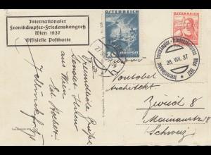 Österreich: 1937: Internat. Frontkämpfer Friedenskongreß in Wien, nach Zürich