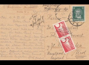 Österreich: 1928: AK Berlin, Trauersaal nach Tirol, Taxe